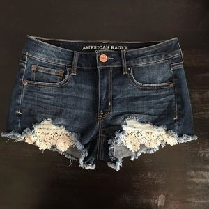 American Eagle Jean Shorts with Lace Detail